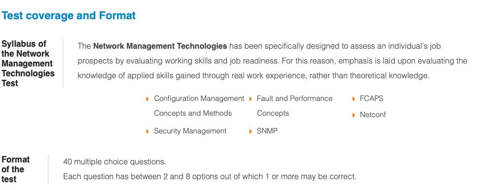 Network Management Technologies Test