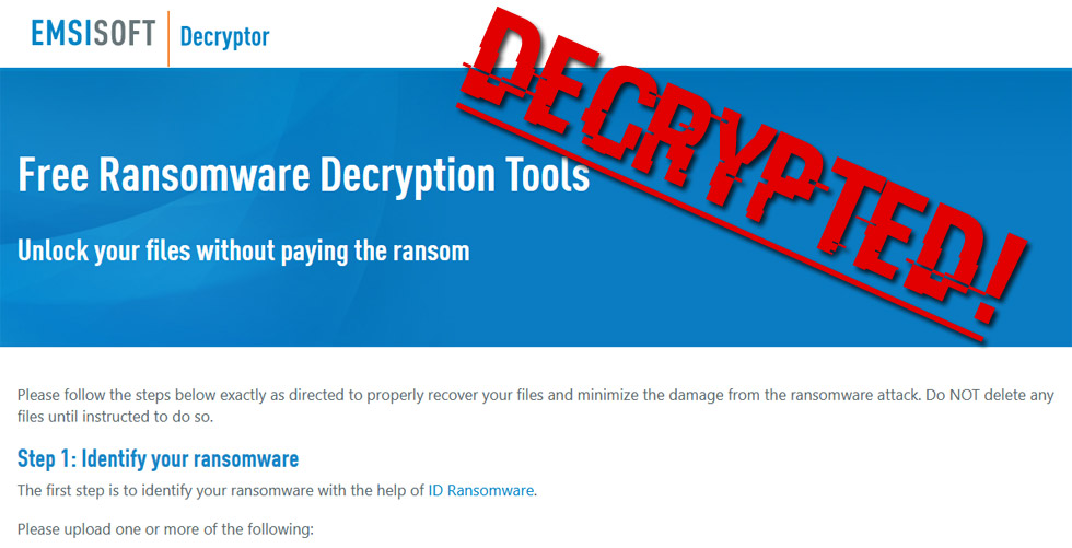 emsisoft release decryption tool